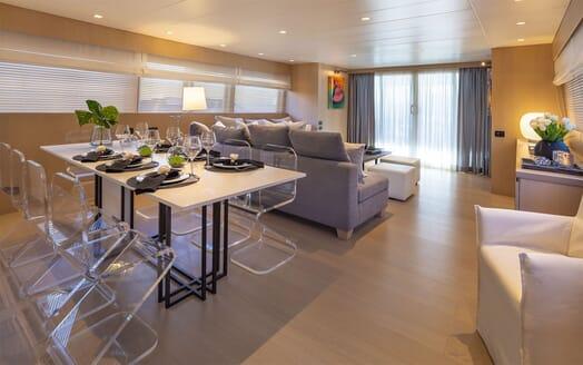 Motor Yacht SUMMER FUN Main Saloon and Dining Table