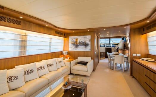 Motor Yacht 888 Saloon through to wheelhouse