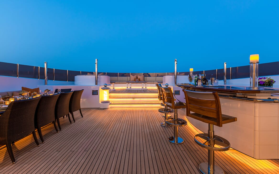 Motor Yacht LUCKY LADY Sun Deck in the Evening