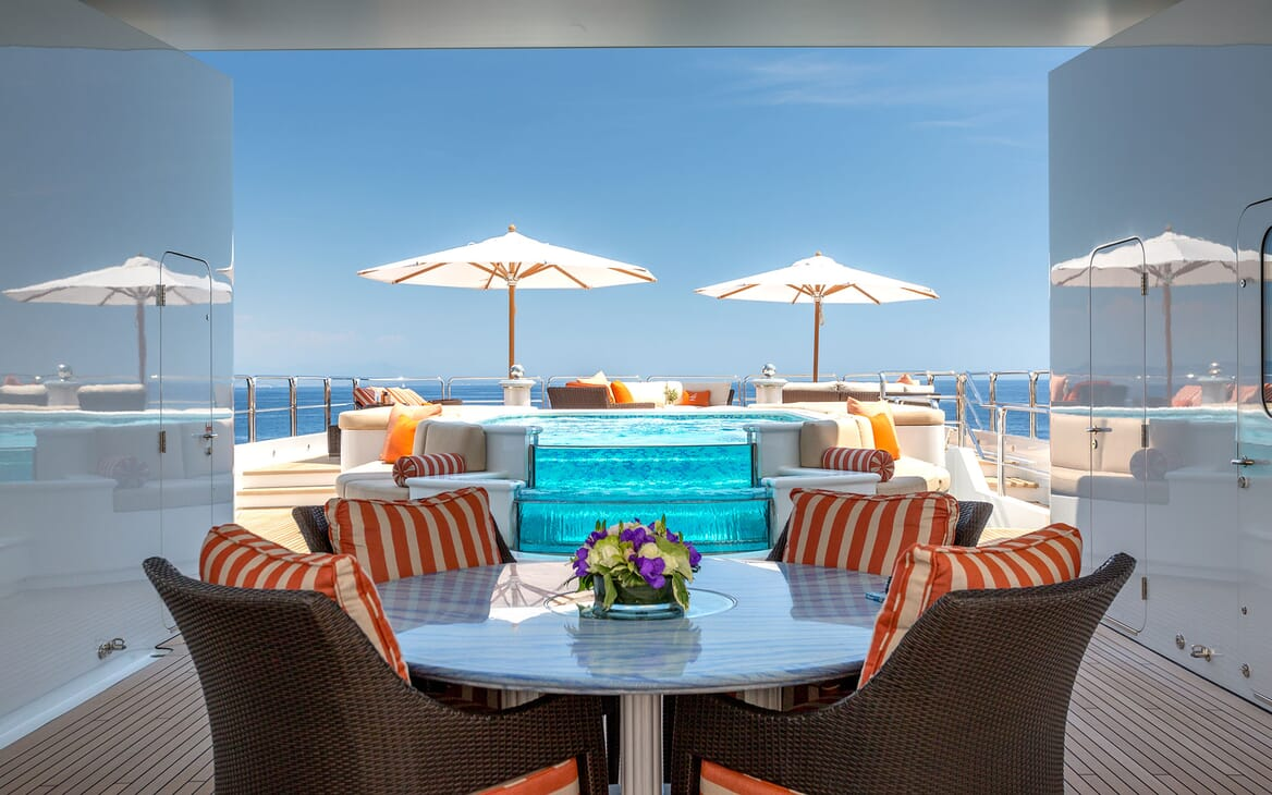Motor Yacht LUCKY LADY Sun Deck Table and Jacuzzi