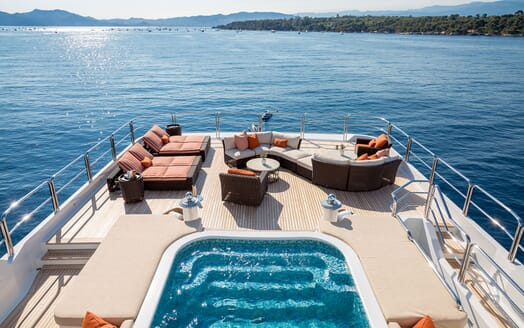 Motor Yacht LUCKY LADY Sun Deck Sun Pads and Seating