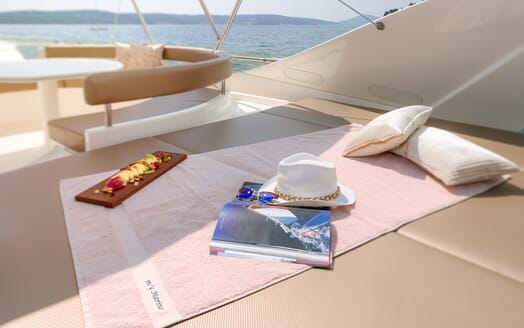 Motor Yacht Marino Sun Deck Fruit Platter and Sun Bathing