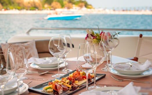 Motor Yacht Marino Aft Deck Dining Close Up