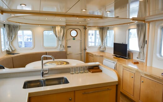 Motor Yacht ELENA Galley and Table