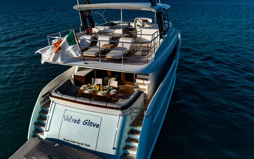 Motor Yacht VELVET GLOVE Aft View Dining and Sun Deck