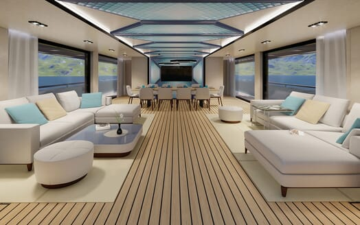 Motor Yacht PROJECT SAPPHIRE Main Saloon Dining View