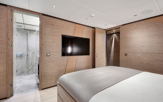 Sailing Yacht ALL ABOUT U 2 Guest Double Stateroom TV and Bathroom