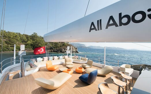 Sailing Yacht ALL ABOUT U 2 Sun Deck Aft Seating and Loungers