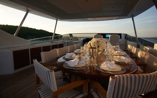 Motor Yacht Princess Lona Sun Deck Table