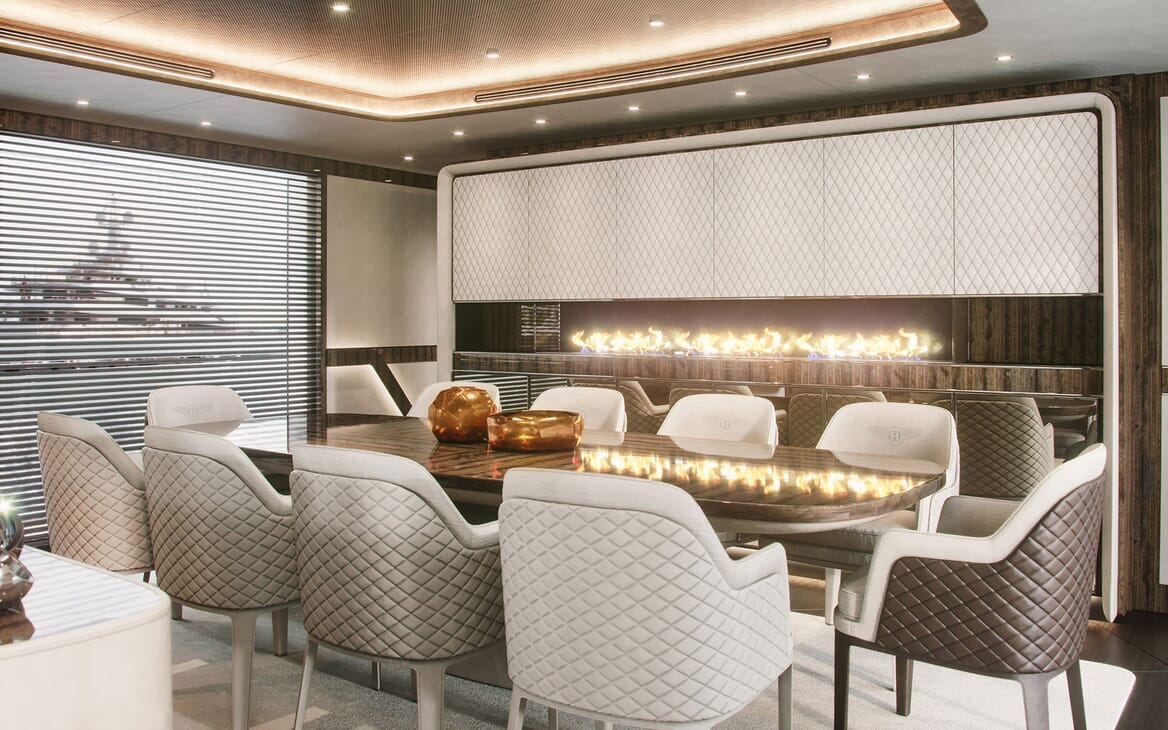 Motor Yacht Dynamiq G300 Dining Table with Fire