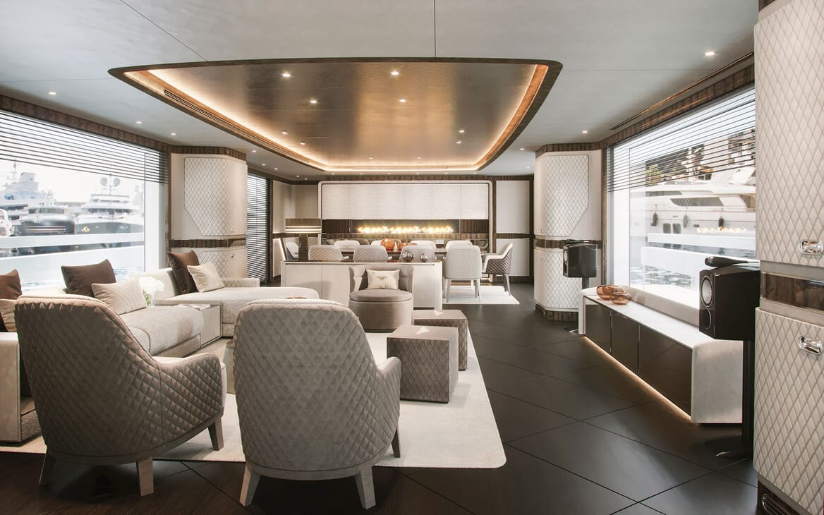Motor Yacht Dynamiq G300 Main Saloon and Dining