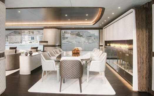 Motor Yacht Dynamiq G300 Dining Table Side on
