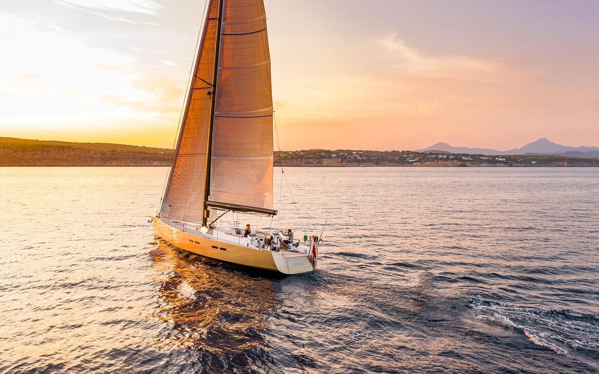 Sailing Yacht MIYABI Sailing Sunset