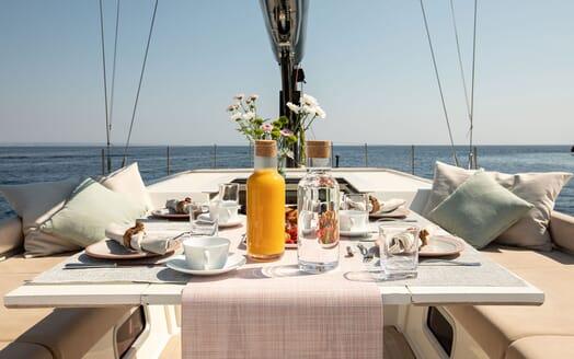 Sailing Yacht MIYABI Al Fresco Breakfast