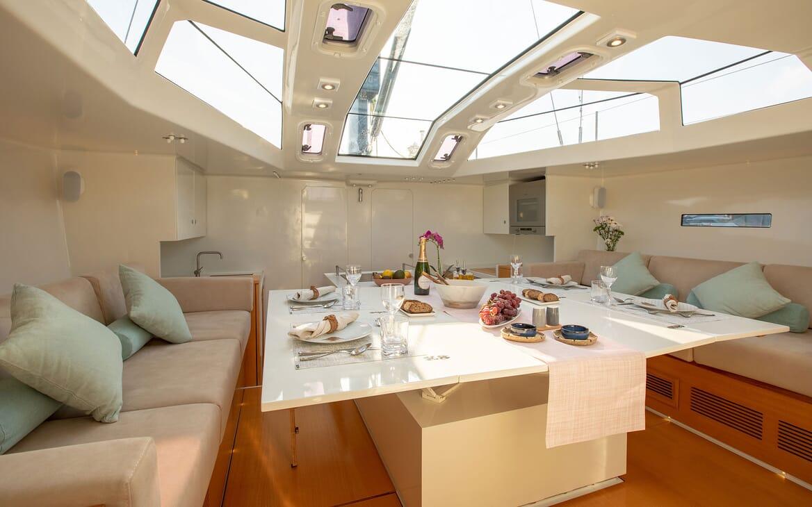 Sailing Yacht MIYABI Main Salon Dining Set Up
