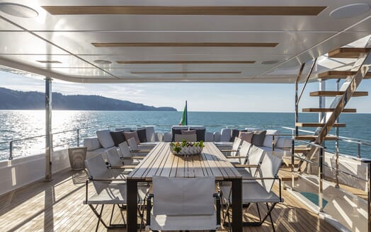 Motor Yacht CIAO Upper Aft Deck Dining Table