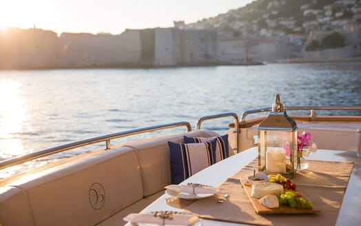 Motor Yacht SALT Evening Alfresco Dining