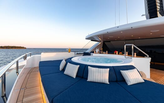 Motor Yacht SOARING Sun Deck Jacuzzi with a View