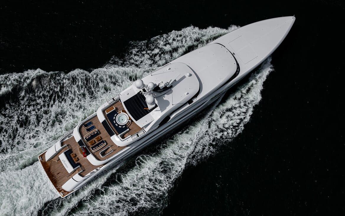 Motor Yacht SOARING Birds Eye View Underway
