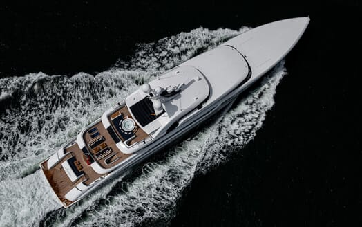 Motor Yacht SOARING Birds Eye View Underway