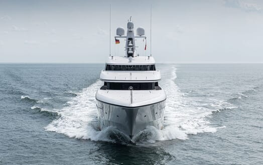Motor Yacht SOARING Bow on Underway