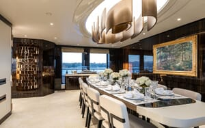 Motor Yacht SOARING Main Deck Dining Room Table