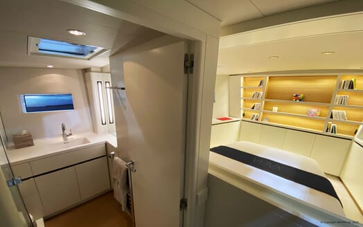 Sailing Yacht XAIRA master suite en suite with contemporary interiors and soft lighting