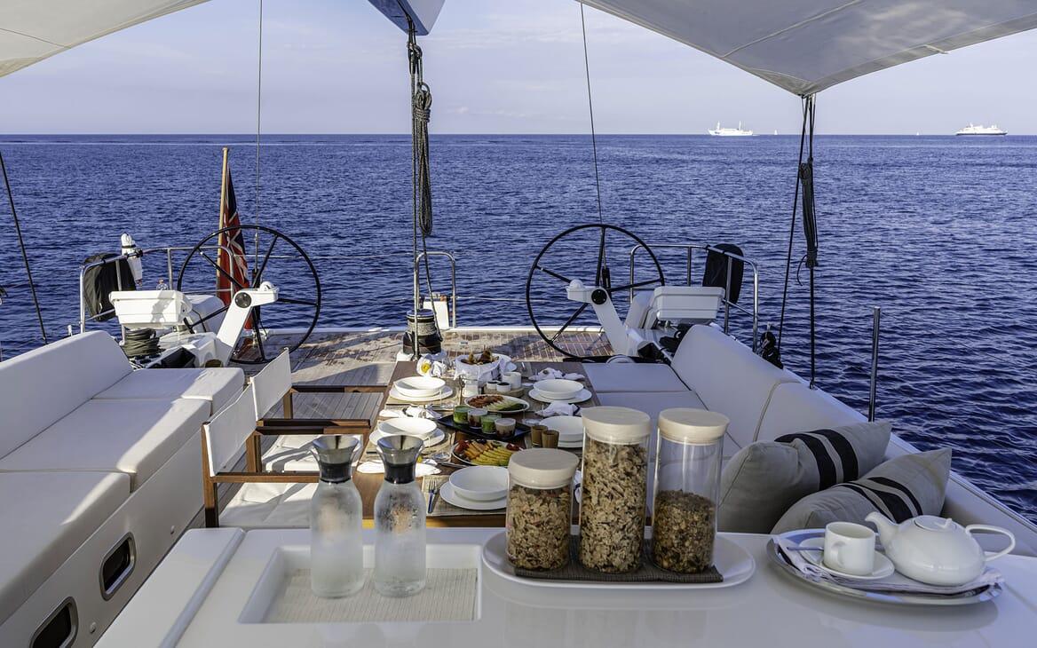 Sailing Yacht XAIRA Deck Breakfast Setup