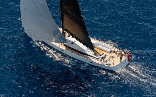 Sailing Yacht XAIRA aerial hero shot on water