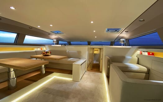 Sailing Yacht XAIRA aerial living room with contemporary interiors and soft lighting
