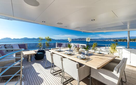 Motor Yacht ANGELUS Aft Deck Dining Table Set Up