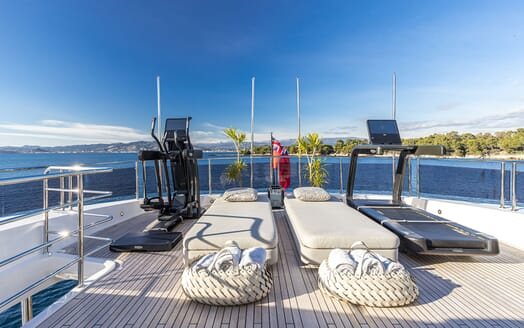 Motor Yacht ANGELUS Sun Deck Sun Pads and Excise Equipment
