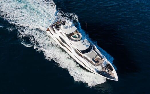 Motor Yacht ANGELUS Aerial Shot Underway