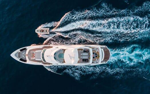 Motor Yacht ANGELUS Aerial Overhead Shot with Tender