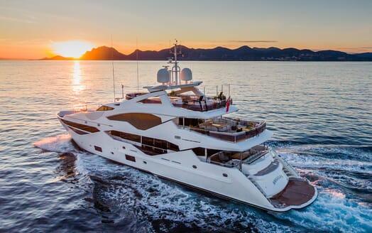Motor Yacht ANGELUS Sunset Exterior Shot