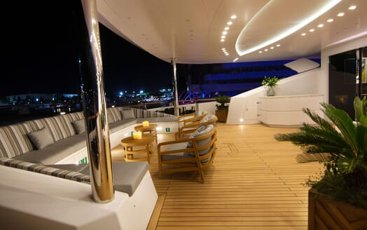Motor Yacht BABA'S Aft Deck Evening