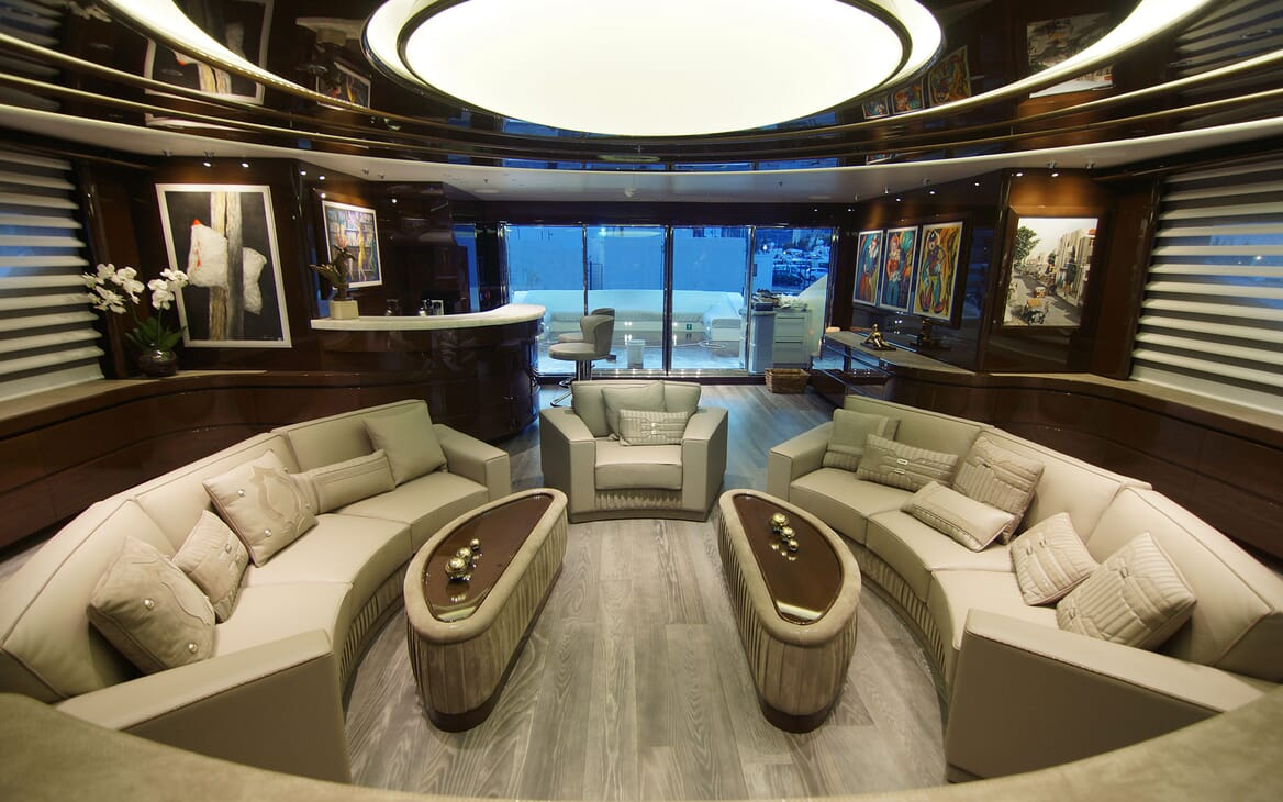 Motor Yacht BABA'S Lower Deck Saloon to Aft