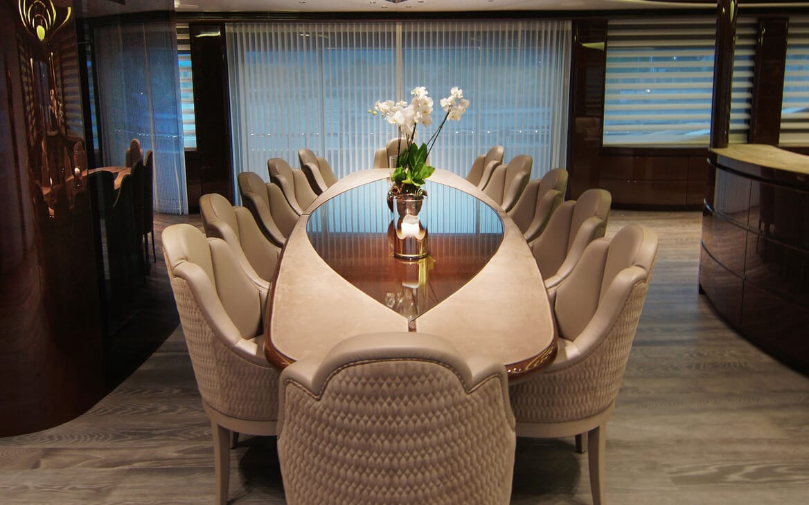 Motor Yacht BABA'S Lower Deck Dining Table