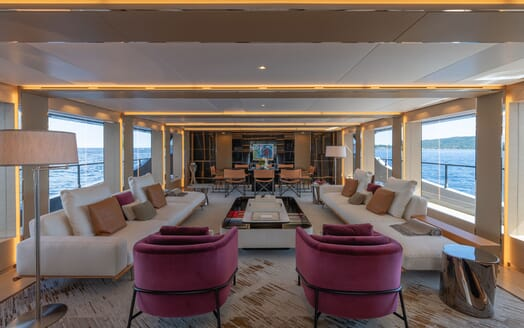 Motor Yacht LEL Main Deck Salon and Dining