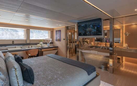 Motor Yacht LEL Master Stateroom Bed and TV