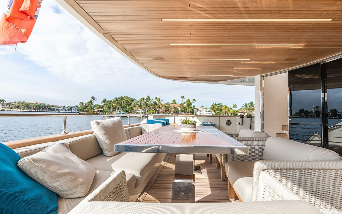 Motor Yacht HALCYON Aft Deck Seating