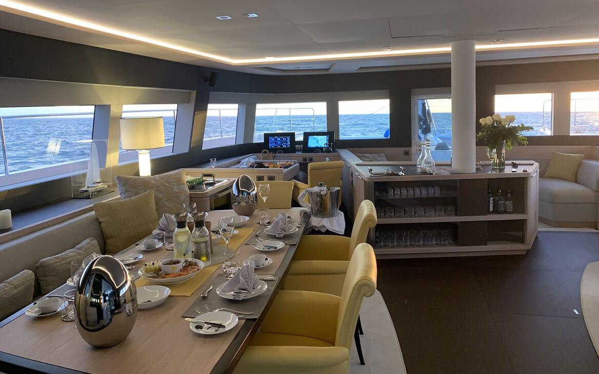 Sailing Yacht THUNDERBOLT Main Salon Dining Table