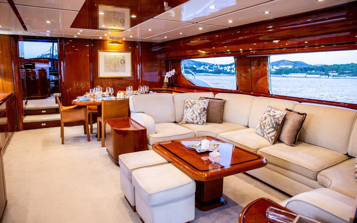 Motor Yacht PAREAKI Main Salon & Dining Area