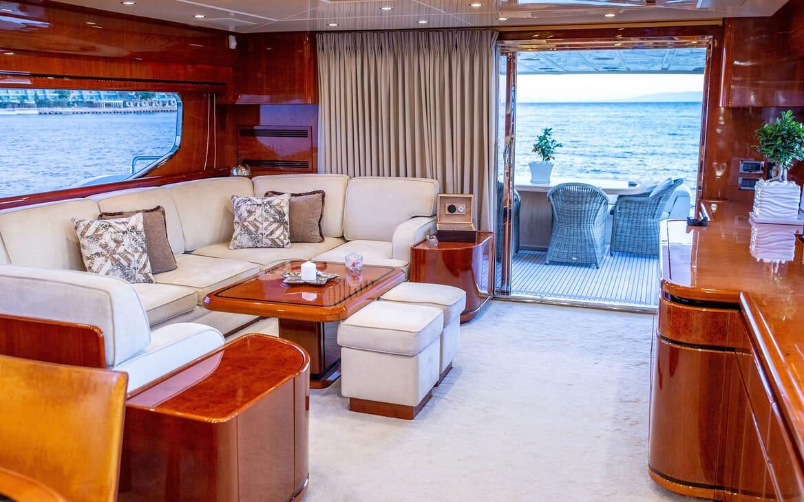 Motor Yacht PAREAKI Main Salon to Aft Deck