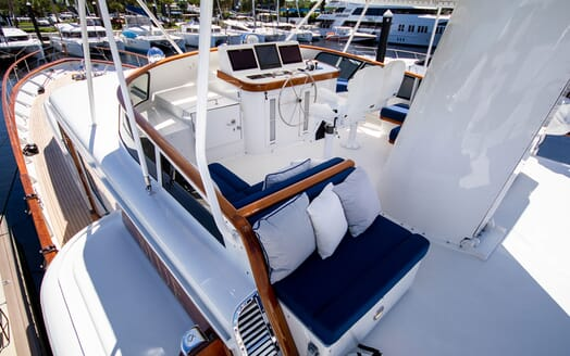 Motor Yacht BLUE Sun Deck Wheel and Seating