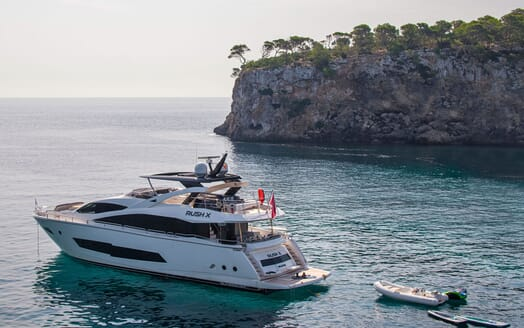 Motor Yacht RUSH X Moored with Toys