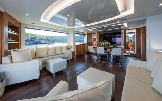 Motor Yacht RUSH X Main Salon And Dining Table