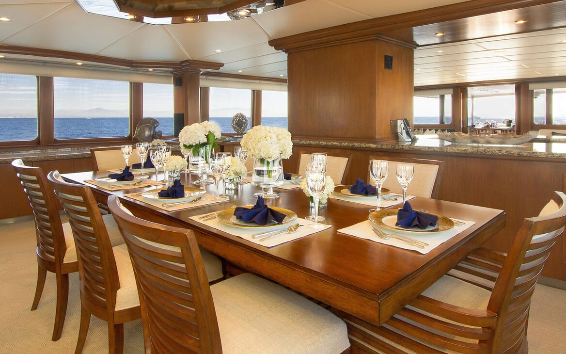Motor Yacht SERENITY 122 Main Salon Dining Table