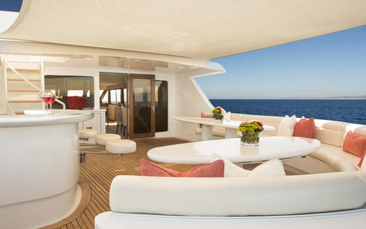 Motor Yacht SERENITY 122 Sun Deck Seating and Bar