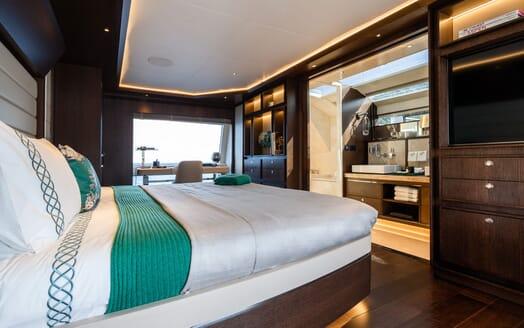 Motor Yacht MOANNA II Master Stateroom into Bathroom